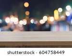 empty wood table top for...   Shutterstock . vector #604758449