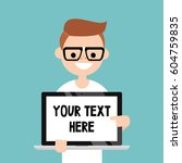your text here. smiling nerd... | Shutterstock .eps vector #604759835