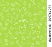 easter pattern with eggs ... | Shutterstock .eps vector #604761074