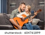 happy father and daughter... | Shutterstock . vector #604761899