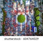 santacon parade in 2015  aerial ...   Shutterstock . vector #604764029