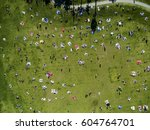 overhead view of people in a... | Shutterstock . vector #604764701