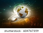 3d rendering globe with mouse | Shutterstock . vector #604767359