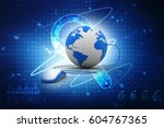 3d rendering globe with mouse | Shutterstock . vector #604767365