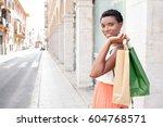 portrait of beautiful african... | Shutterstock . vector #604768571