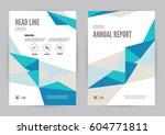 blue annual report leaflet... | Shutterstock .eps vector #604771811