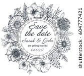 save the date card with hand...   Shutterstock .eps vector #604777421