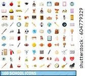 100 school icons set in cartoon ...