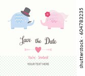 save the date invitation card... | Shutterstock .eps vector #604783235