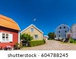old swedish houses in summer in ... | Shutterstock . vector #604788245
