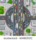 top view of city map.... | Shutterstock .eps vector #604805351