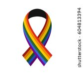 ribbon lgbt icon in flat style... | Shutterstock . vector #604813394