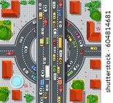 top view of city map.... | Shutterstock .eps vector #604814681