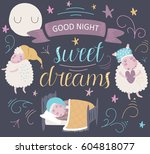 'good night. sweet dreams'... | Shutterstock .eps vector #604818077