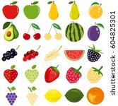 fruits and berries  a large set.... | Shutterstock .eps vector #604825301