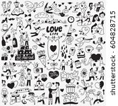 love   wedding day   doodles set | Shutterstock .eps vector #604828715