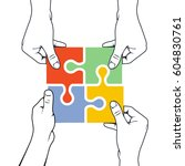 four hands joining puzzle piece ... | Shutterstock .eps vector #604830761
