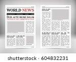 vintage vector newspaper.... | Shutterstock .eps vector #604832231