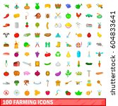 100 farming icons set in