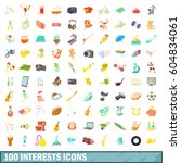 100 interests icons set in... | Shutterstock . vector #604834061