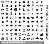 100 gardening icons set in... | Shutterstock . vector #604834169