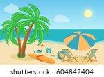 sea landscape summer beach.... | Shutterstock .eps vector #604842404