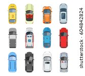 set of car top view vector set. ... | Shutterstock .eps vector #604842824