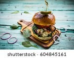 tasty burger with beef with... | Shutterstock . vector #604845161