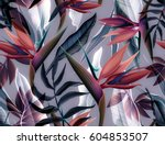 Stock photo seamless tropical flower plant and leaf pattern background 604853507