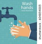 wash hands. man holding soap in ... | Shutterstock .eps vector #604854005