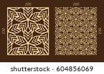 laser cutting set. woodcut...   Shutterstock .eps vector #604856069