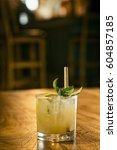 mint julep cocktail drink in... | Shutterstock . vector #604857185