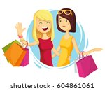 happy fashion girl with... | Shutterstock .eps vector #604861061