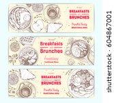 breakfast and brunches vintage... | Shutterstock .eps vector #604867001