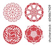 set of vector korean... | Shutterstock .eps vector #604867409