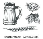 set of beer components design... | Shutterstock .eps vector #604869881