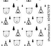bear head pattern illustration... | Shutterstock .eps vector #604870799