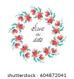 wreath of watercolor flowers... | Shutterstock .eps vector #604872041