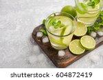 cold refreshing summer drink... | Shutterstock . vector #604872419