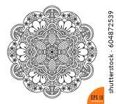 black and white. mandala.... | Shutterstock .eps vector #604872539