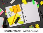open notepad with office...   Shutterstock . vector #604873361