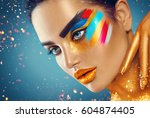 fashion model girl with colored ... | Shutterstock . vector #604874405
