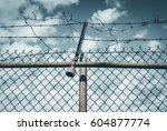 abstract chain link fence with... | Shutterstock . vector #604877774