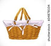 wicker basket isolated on white ... | Shutterstock .eps vector #604878104
