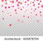 colorful watercolor  heart... | Shutterstock .eps vector #604878704