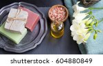 spa setting with natural soap ...   Shutterstock . vector #604880849