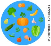 set of health food icons in a... | Shutterstock .eps vector #604883261