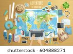 preparing for the trip  travel... | Shutterstock .eps vector #604888271
