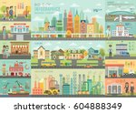 city life infographic set with... | Shutterstock .eps vector #604888349