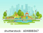 kids playground with playing... | Shutterstock .eps vector #604888367